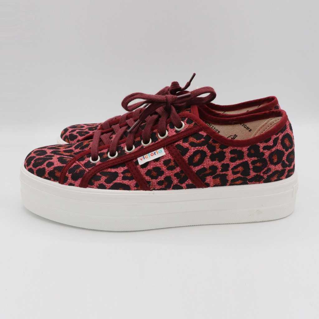 Teniși colorați cu print leopard roz și platformă
