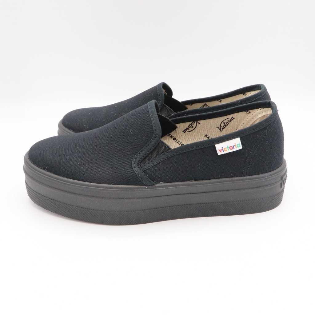 Pantofi slip on negri din bumbac organic