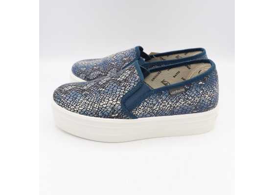 Pantofi slip on albaștri cu model piele de șarpe și platformă