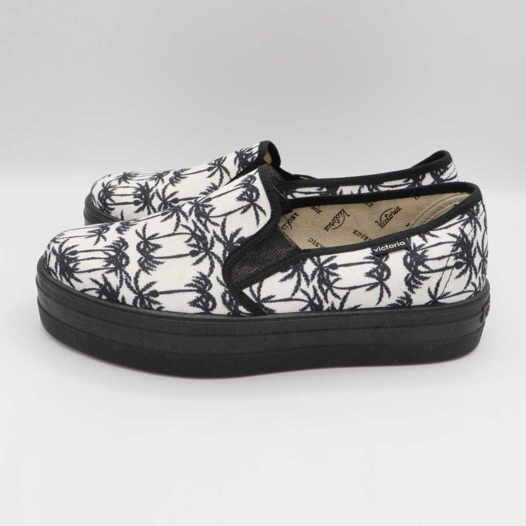 Pantofi slip on albi cu imprimeu palmieri negri