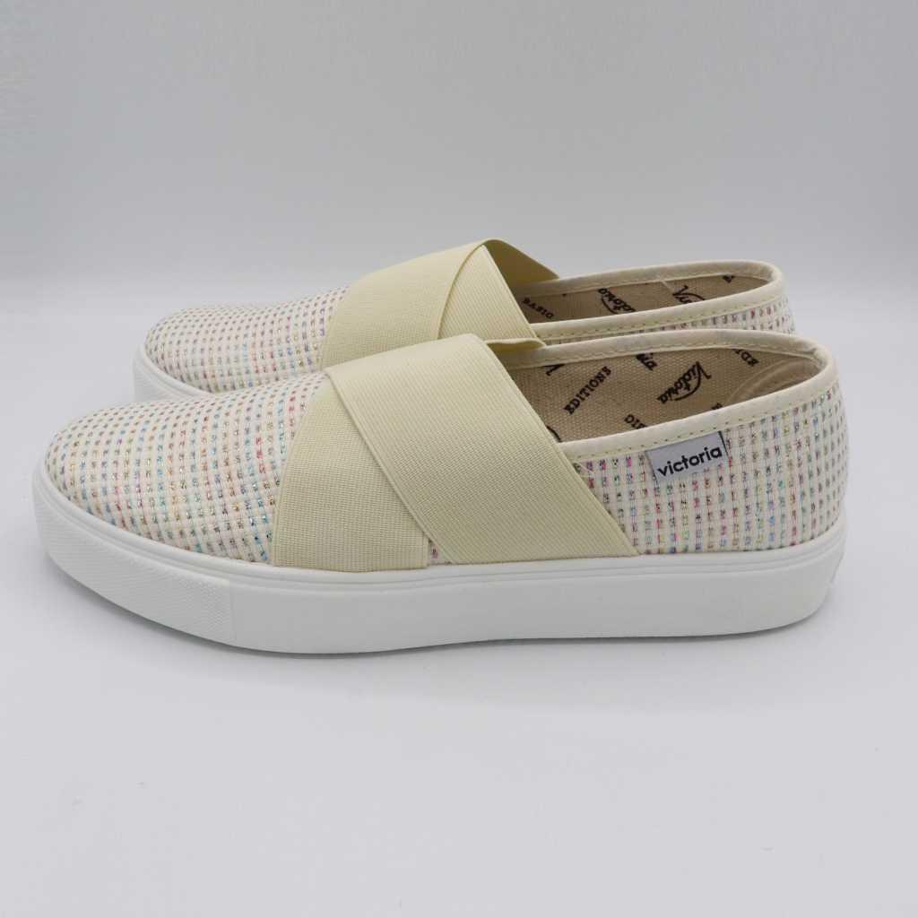 Pantofi albi slip on cu fire metalice colorate