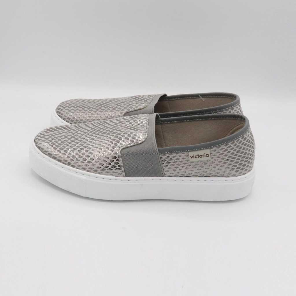 Pantofi slip on gri metalic
