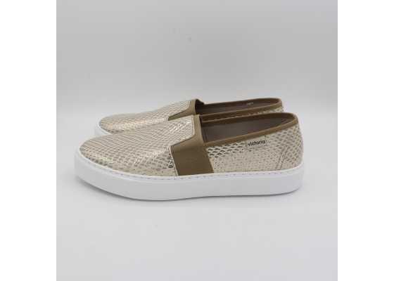 Pantofi slip on auriu metalic