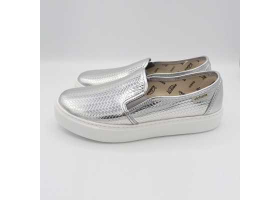 Pantofi slip on gri metalic cu textură