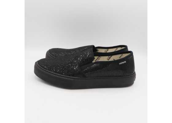 Pantofi negri slip on cu paiete